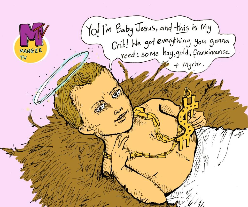 alcatraz illustrations illustrator christmas card baby jesus mtv manger
