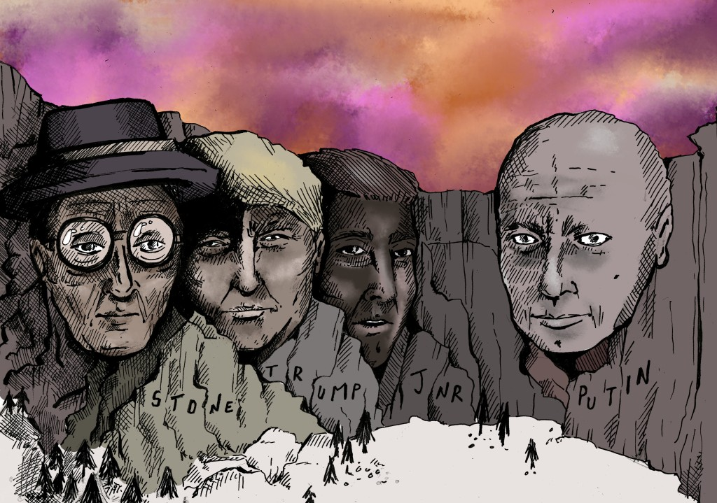 alcatraz illustrations illustrator rushmore trump putin roger stone satire postcard tshirt design